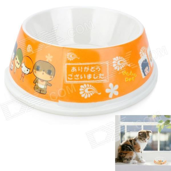 Cute Pet Dog Cat Food Dish Bowl - Orange + White