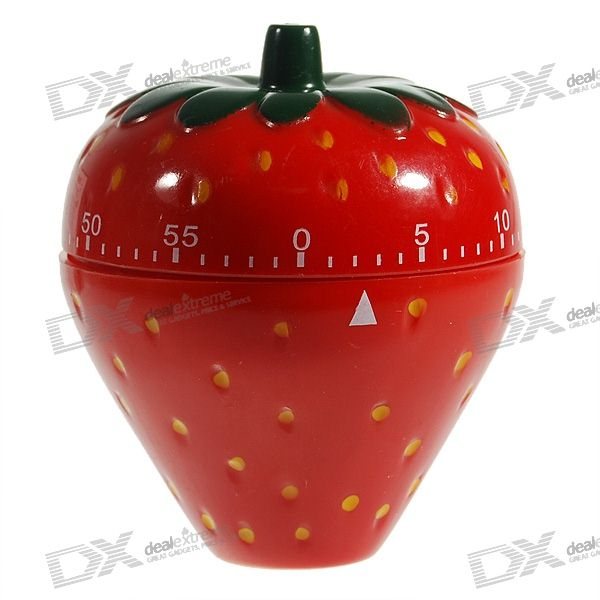 Cute Strawberry Mechanical Kitchen Timer (60-Minute