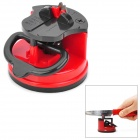 Kitchen Mini Knife Sharpener Grinder Grinding Tool w/ Suction Pad Cup - Red + Black