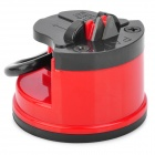 Kitchen Mini Knife Sharpener Grinder w/ Suction Pad Cup - Red + Black