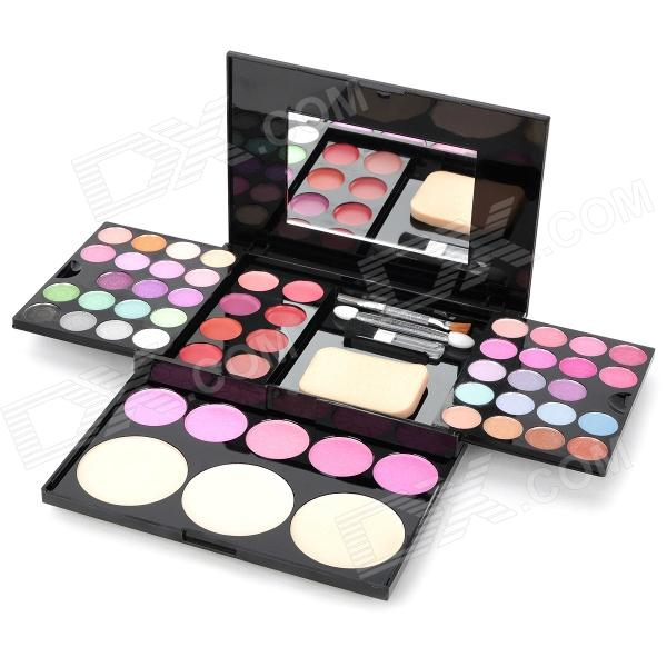 Cosmetic Makeup 3-Layer 38-Color Eye Shadow w/ Mirror / Accessories Kit - Multicolored m rui cosmetic makeup powder w puff mirror natural color