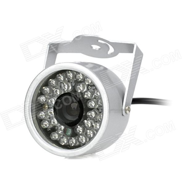Water Resistant Surveillance Security Camera w/ 30-LED IR Night Vision - Silver (NTSC) water resistant surveillance security camera w 36 led ir night vision silver pal