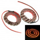 3.6W 480lm 60-LED Yellow Light Car Daytime Running Light Strips - Schwarz (DC 12V / 2 PCS)