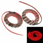 3.6W 480lm 60-LED Red Light Car Decoration Strip - Schwarz (DC 12V / 2 PCS)