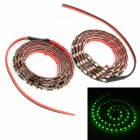 3.6W 480lm 60-LED Green Light Car Decoration Strips - Schwarz (DC 12V / 2 PCS)