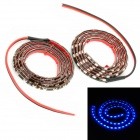 3.6W 480lm 60-LED Blue Light Car Decoration Strips - Schwarz (DC 12V / 2 PCS)