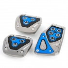 Universal Non-slip Zinc Aluminum Alloy Car Brake + Accelerator + Clutch Pedal Set - Blue (3 PCS)