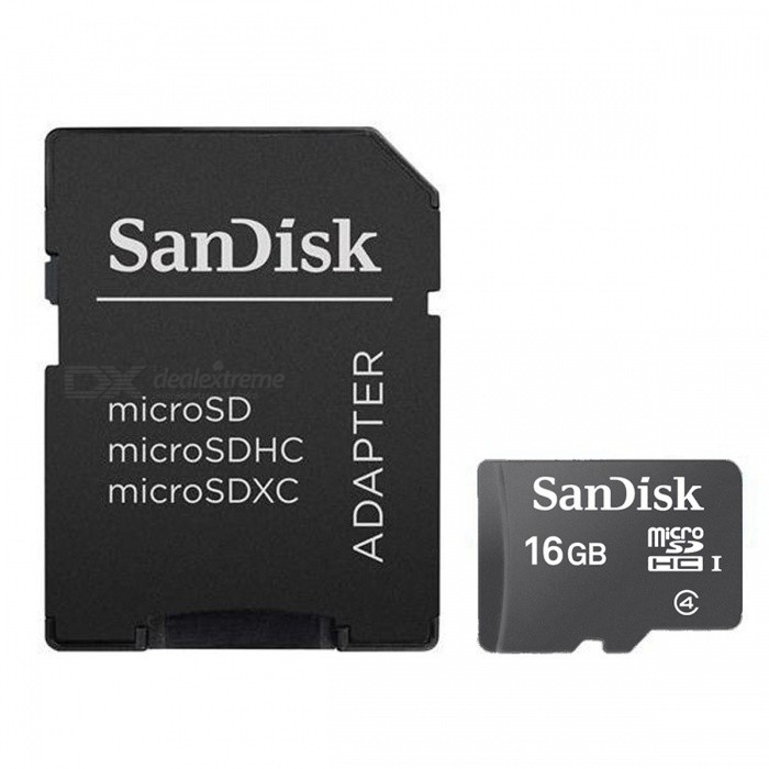 Sandisk Micro SD Card w/ SD Card Adapter - Black + Red (16GB/Class 4)
