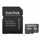 Sandisk Micro SD Memory Card w/ SD Card Adapter (16GB / Class 4)