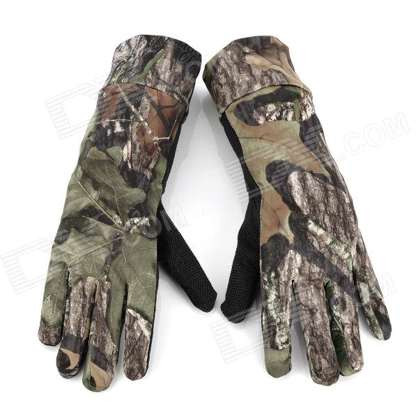Camouflage Polyester Full-Finger Hunting Gloves - Black + Green