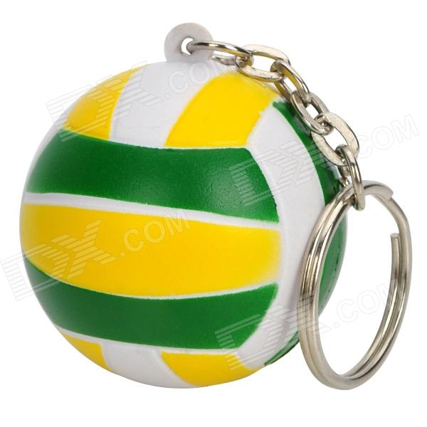 Stylish Volleyball Shaped Plastic Keychain - Green + Yellow + White nordic popular living room chair retail simple and stylish plastic stool wholesale white yellow red black color free shipping