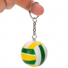 Stylish Volleyball Shaped Plastic Keychain - Green + Yellow + White