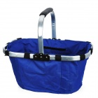 Folding Portable Shopping Picnic Hand Basket - Silver + Blue