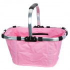 Folding Portable Shopping Picnic Hand Basket - Silver + Pink