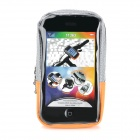Bike Bicycle Quick Release Zippered Pouch for Touch Screen Mobile phone - Orange + Silver