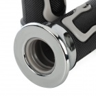 Motorcycle Skull Flame Pattern Non-Slip Rubber Handlebar Covers - Grey + Silver + Black (2 PCS)