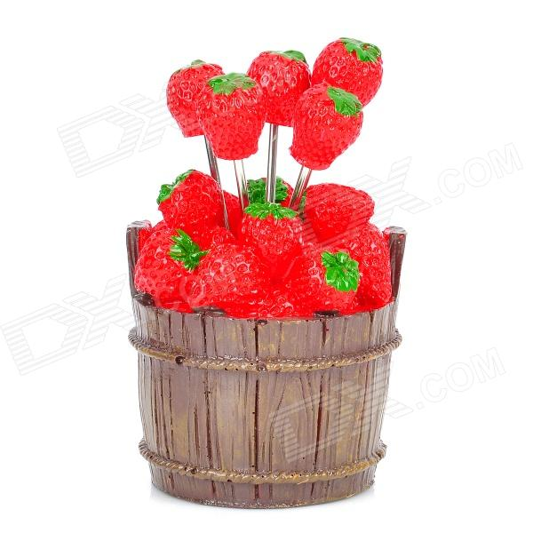 Creative Strawberry Style Fruit Picks / Forks (10-Fork Set) цена 2016
