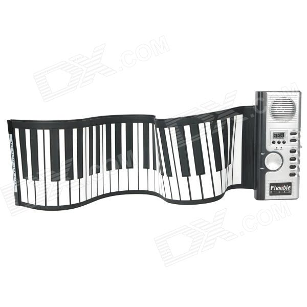 Portable 49-Key Waterproof Silicone Soft Keyboard Piano - Black + White (4 x AA)