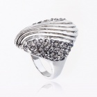 Tibetan Silver Vintage Cocktail Party Ring - Silver + Grey