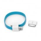 30 Pin Male to Micro USB female adapter w/ Magnetic Micro USB Cable - Aquamarine