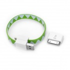 30 Pin Male to Micro USB Female Adapter w/ Magnetic USB Cable - Green + White