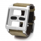 Wrist Watch Style Protective Genuine Cow Leather Case for iPod Nano 6 - Khaki + Sliver