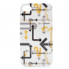 Kamol Arrow Marks Protective Plastic Back Case for iPhone 4 / 4S - White