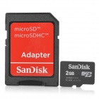 SanDisk Micro SD TF Card w/ SD Adapter - Black (2GB)