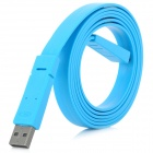 Mini USB to USB 2.0 Male to Male Flat Cable - Blue