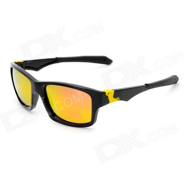OREKA Outdoor Sport Protection Polarized Sunglasses - Black + Yellow oreka 1025 outdoor sport resin lens nickel alloy frame uv protection sunglasses black