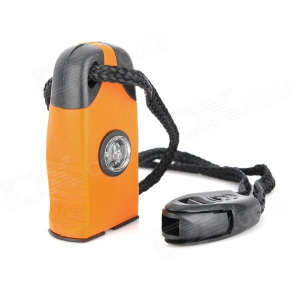 Wilderness Survival Tool 3-in-1 Fire Sparkle Flint + Compass + Whistle - Black + Orange