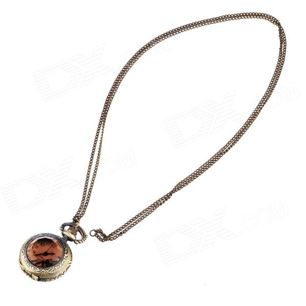 Vintage Diamond Style Quartz Necklace Watch - Copper (2 PCS / 1 x LR626) old antique bronze doctor who theme quartz pendant pocket watch with chain necklace free shipping