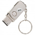 Rotation Aluminum USB 2.0 Flash Drive Keychain - Silver (8GB)