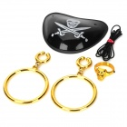 Cosplay Pirate Eyepatch + Earrings + Ring Set for Costume / Halloween Party - Black + Golden