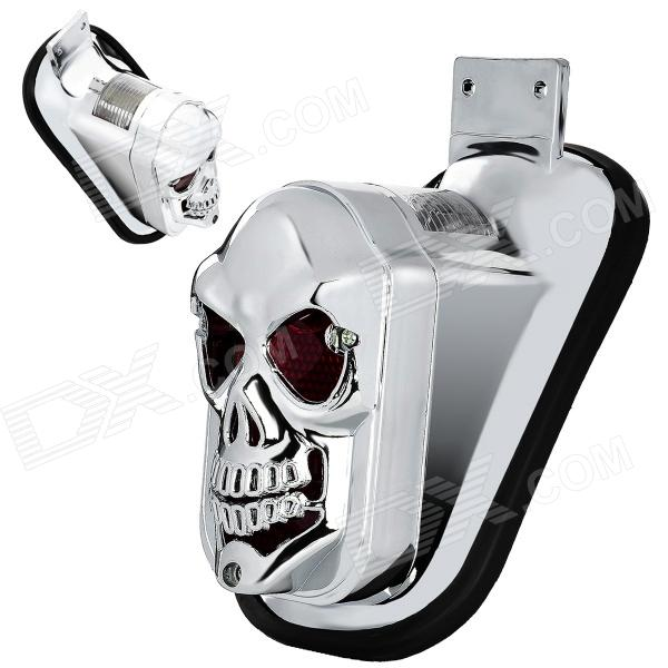 Cool Skull Head Style 10W LED Yellow Light Tail Lamp for Motorcycle - Silver