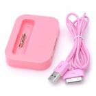 Battery Charging Dock Station w/ USB Cable for iPhone 3GS / 4 / 4S - Pink (100cm)