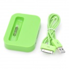 Battery Power Desktop Charger Dock w/ USB cable for iPhone 3GS / 4 / 4S - Green (100cm)