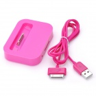 Battery Charging Dock Station w/ USB Cable for iPhone 3GS / 4 / 4S - Deep Pink (100cm)