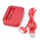 Battery Power Desktop Charger Dock w/ USB Cable for iPhone 3GS / 4 / 4S - Red (100cm)