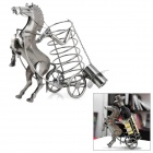 METTLE Horse-Drawn Cart Style Wine Bottle Holder Rack - Silver