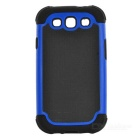 Protective Detachable Silicone Back Case w/ PC Cover for Samsung Galaxy S3 i9300 - Blue + Black