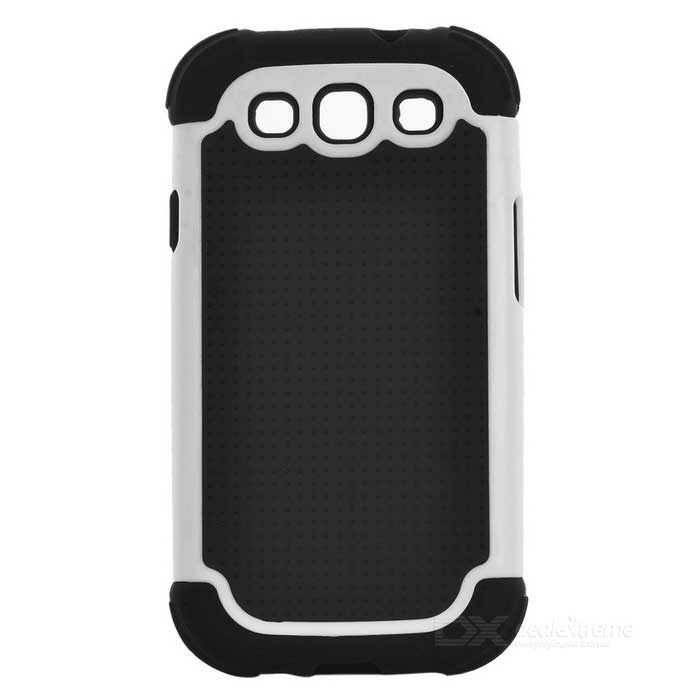 Protective Detachable Silicone Back Case w/ PC Cover for Samsung Galaxy S3 i9300 - White + Black 2 in 1 detachable protective tpu pc back case cover for samsung galaxy note 4 black