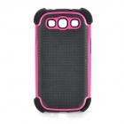 Protective Detachable Silicone Back Case + PC Cover for Samsung Galaxy S3 i9300 - Deep Pink + Black