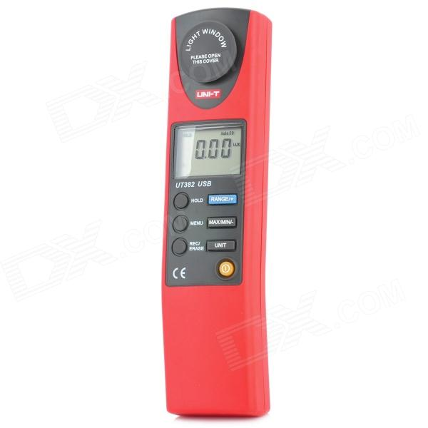 UT382 1.6 LCD Digital Luxmeter - Red + Grey (1 x 6F22 9V) - DX - DXTesters &amp; Detectors<br>Color: Red + Grey - Material: ABS - 1.6 LCD screen - Illuminance measuring: 20LUX ±(3%+20) 200Lux/2000Lux/20000Lux ±(3%+8) - Resolution: 0.01LUX / 0.1LUX / 1LUX / 10LUX - Auto power off: 10 minutes - Over range display - Lower voltage display - Data reservation - Real time clock - USB data transmission - Powered by 1 x 6F22 9V battery (included) - Package includes: - 1 x Luxmeter - 1 x USB cable (140cm) - 1 x Pouch - 1 x Software CD - 1 x 9V battery - 1 x English manual CD Content: http://m2.img.dxcdn.com/CDDriver/sku.151728.rar<br>