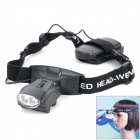 Headband 2-LED White Light Illuminating Magnifier - Black (3 x AAA)