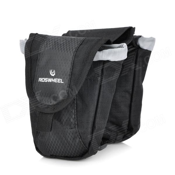 Roswheel Cycling Bicycle Bike Top Tube Double Bag - Black roswheel 12659 waterproof cycling bicycle pu top tube double storage bag black