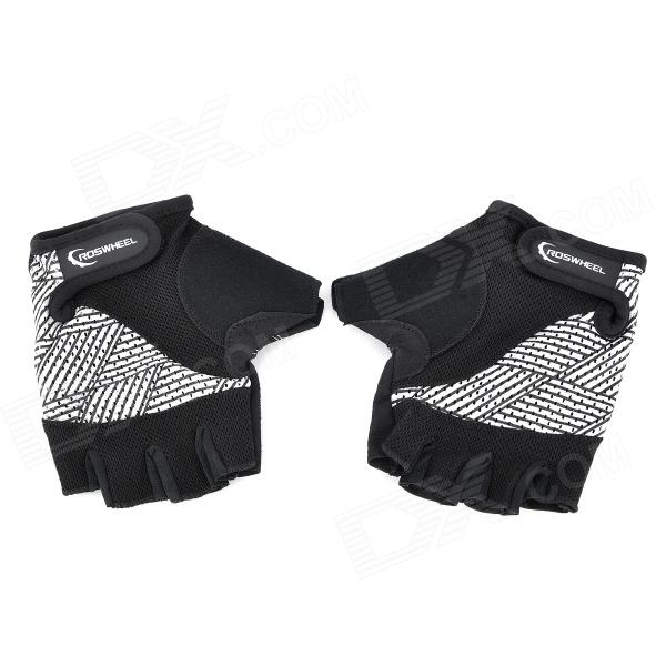 Outdoor Sports Riding Cycling Half Finger Gloves - Black + White (Pair / Size-XL) стоимость