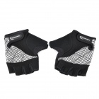 Outdoor Sports Riding Cycling Half Finger Gloves - Black + White (Pair / Size-XL)