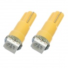 T5 1W 50lm 1-5050 SMD LED Yellow Light Car Instrument Lamp Bulbs (2 PCS)