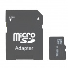 Micro SD TF Card w/ SD Adapter - Black (16GB / Class 4)